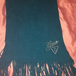 Auth, guess, teal, crystal embellished logo scarf